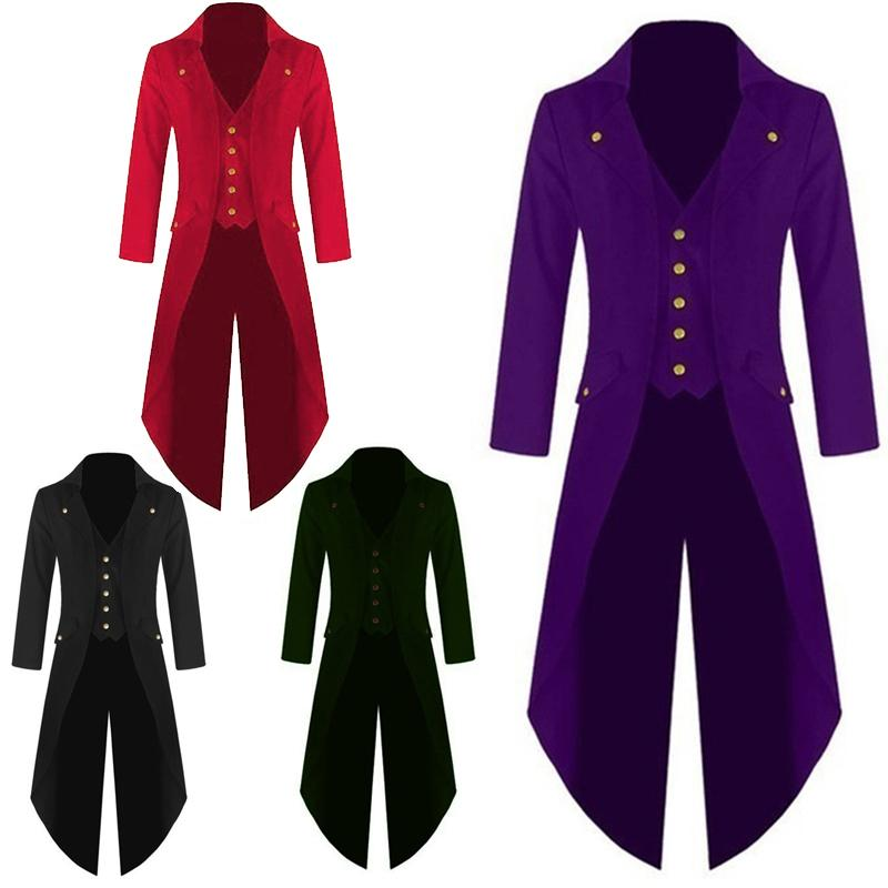New Plus Size Men Tuxedo Jackets Tail Coat Steampunk Gothic Performance Uniforms Cosplay Party Clothes Gentle Men Formal Dress