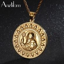 Hip hop ouro prata cor 316l aço inoxidável exorcista religioso pingentes banhado a ouro colares para mulheres masculinas retro jóias