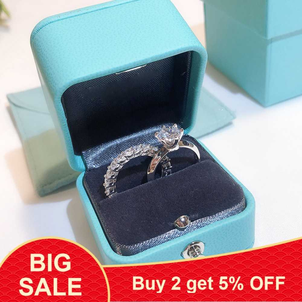 Real de 100% 925 Sterling Silver marca Cz Wedding Band Engagement Promise Ring Set 5A Zircão Sona Anéis de dedo para As Mulheres jóias
