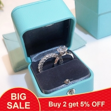 Real 100% 925 Sterling Silver brand Promise Ring Set 5A Zircon Sona Cz Engagement Wedding Band Rings for Women finger jewelry
