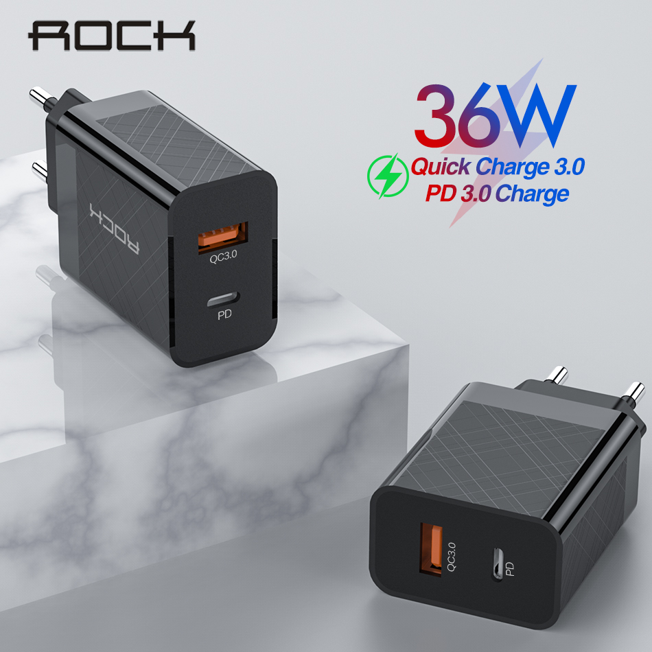 ROCK Fast Charger PD QC 3.0 QC 36W USB EU US Plug for iPhone X max 8 plus For Redmi Note 7 Mobile Phone Adapter