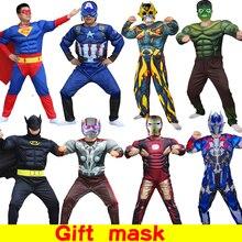 Halloween Super Hero Iron Warrior costumes Jumpsuit Captain America Superman Batman Hulk Thor Muscle Cosplay Costumes