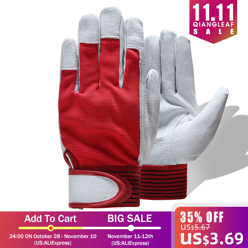 QIANGLEAF Brand Red Products Mechanic Work Gloves Leather Welding Coat Heavy Industrial Glove Safety Sport Glove 5163