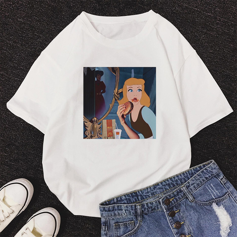 2020 Harajuku Summer Cartoon Princess Print T Shirt Women O-Neck Punk Aesthetic T-shirt Vintage Casual Streetwear Tops Tshirt