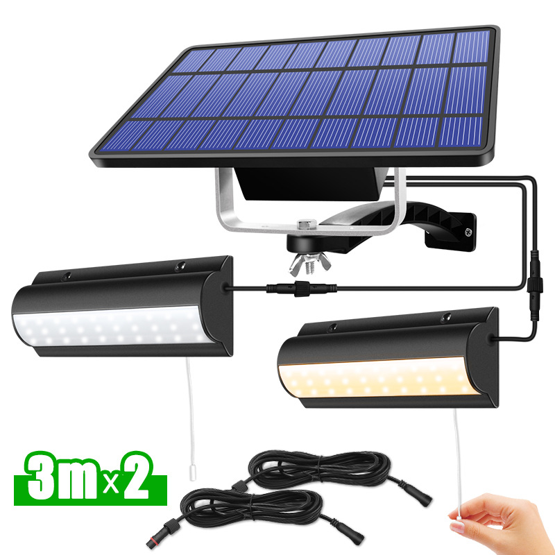 Upgraded LED Solar Pendant Lights Outdoor Indoor Auto On Off Solar Lamp for Room Balcony Terrace With Pull Switch And 3m Line