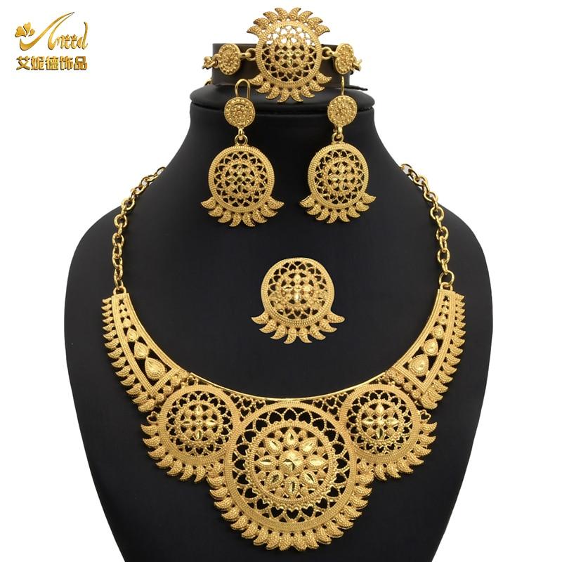 תכשיטים אפריקאים סט ערבי Jewelries שרשרת עגיל צמיד לנשים חתונה ניגרית סט תכשיטים גדולים דובאי האתיופית זהב