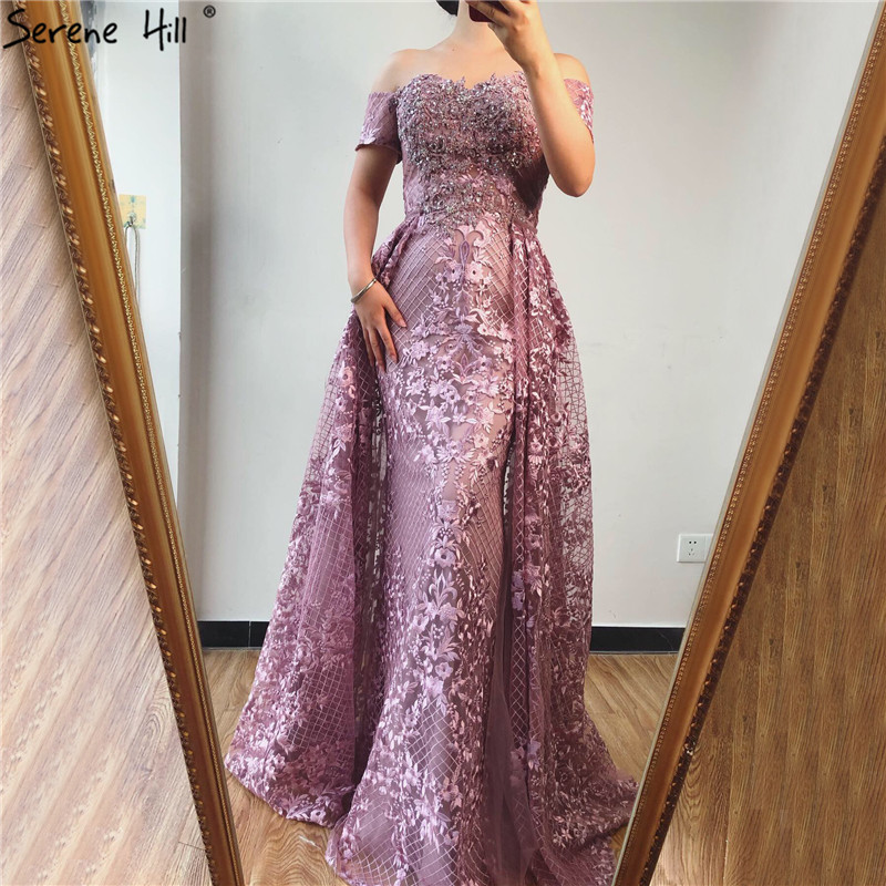 Pink Short Sleeve Handmade Flowers Sexy   Evening     Dresses   2019 Dubai Off Shoulder Crystal   Evening   Gowns Real Photo LA70200
