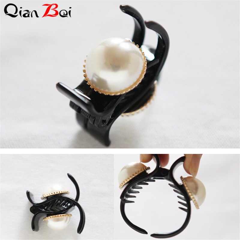 QianBei 1PC נשים פרל קריסטל שיער טפרי סרטן ריינסטון סיכות ראש כלה שיער אביזרי לבוש ראש סטיילינג כלי שיער תכשיטים