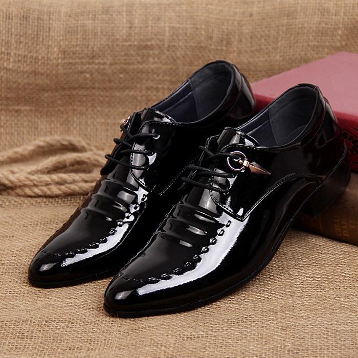 2019 New Fashion Italian Designer Formal Mens Dress Shoes Genuine Leather Black Luxury Wedding Shoes Men Flats Office Oxfords