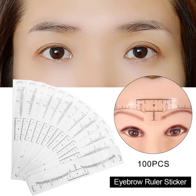 100Pcs/Set Disposable Eyebrow Ruler Makeup Microblading Eyebrow Tattoo Stencil Measurement dropshipping 1