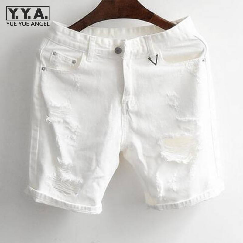 Brand Vintage Mens Summer Denim Shorts Black White Classic Trousers Big Hole Cotton Shorts Knee Length Jeans Free Shipping