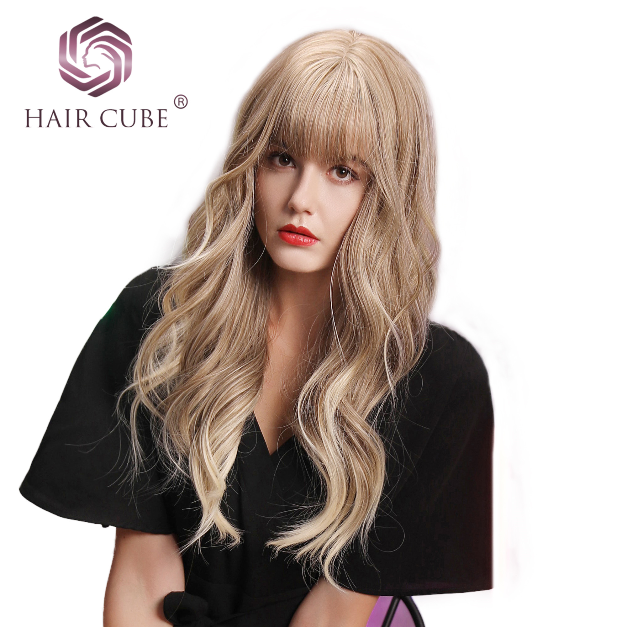 Haircube 22 Inch Long Synthetic Wigs With Bangs  Highlights Light Brown Color Heat Resistant Fiber Natural Wave Wigs For Women