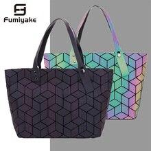 Women Bags Handbag Geometry Totes Sequins Mirror Plain Foldi