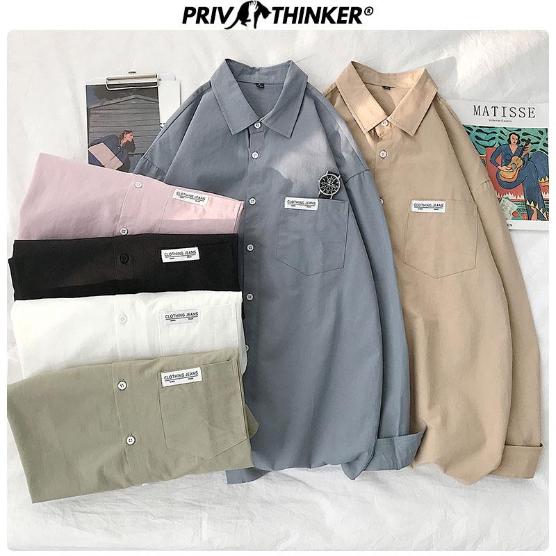 Privathinker Men Summer Couple Print Shirts 2020 Men Korean Short Sleeve Blouse Streetwear Long Sleeve Clothes Male Loose Shirts