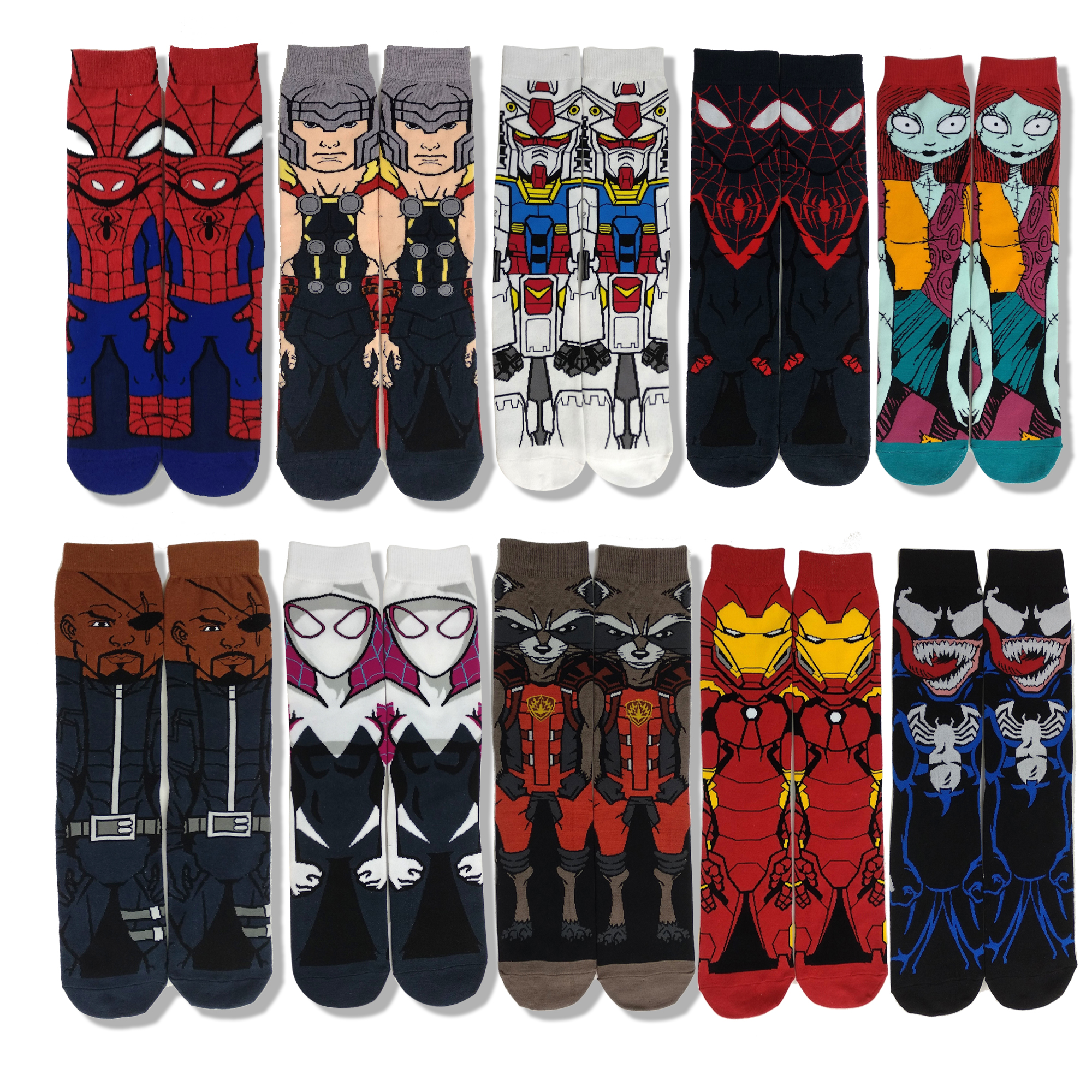 Fashion Personality Super Hero Cartoon Funny Dress Socks Spiderman Venom Colorful Fun Socks Men Comfort Warm Cotton Socks