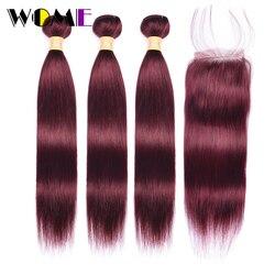 99J Bundels Met Sluiting Maleisische Steil Haar Bundels Met Sluiting Rood Non-remy Human Hair 3 Bundels Met 4x4 Vetersluiting