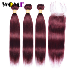 99J Bundles With Closure Malaysian Straight Hair Bundles With Closure Red Non-remy Human Hair 3 Bundles With 4x4 Lace Closure