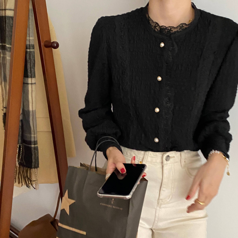 H09aca2eb64d6430abaaf4262a0fa3f5d7 - Spring / Autumn O-Neck Long Sleeves Lace Buttons Blouse
