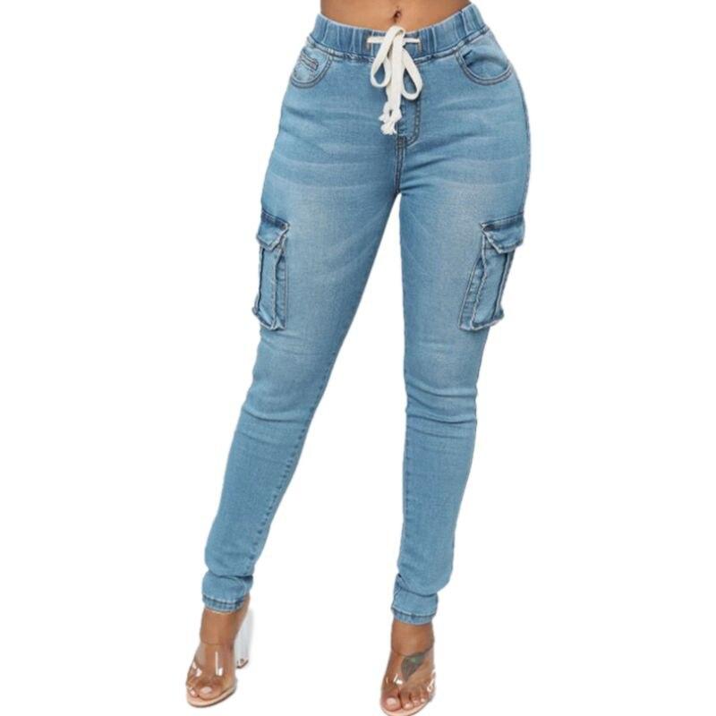 Women Drawstring Elastic Waist Stretchy Multi-pocket Pencil Jeans Ladies Casual High Waist Washed Feet Pants Denim Trousers Plus