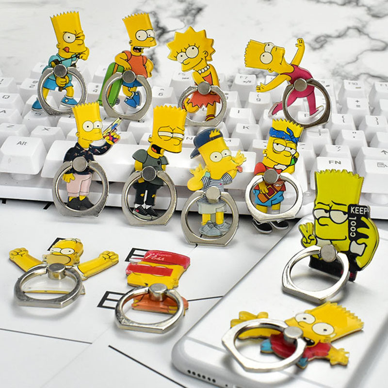 New Universal Metal Finger Phone Ring Holder Mobile Phone Holder Stand Funny Simpson Cartoon Finger Ring Holder For Iphone