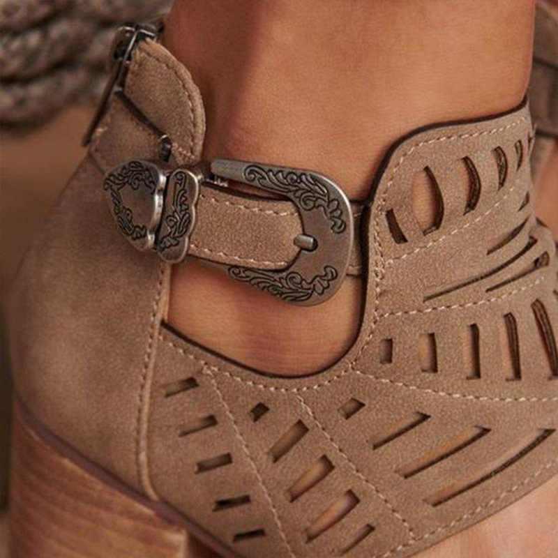 ฤดูร้อนผู้หญิงรองเท้าแตะแฟชั่นหญิง Hollow OUT รองเท้ารองเท้าสแควร์รองเท้าส้นสูงกลางรองเท้าสบาย PU หนัง Peep-Toe รองเท้า