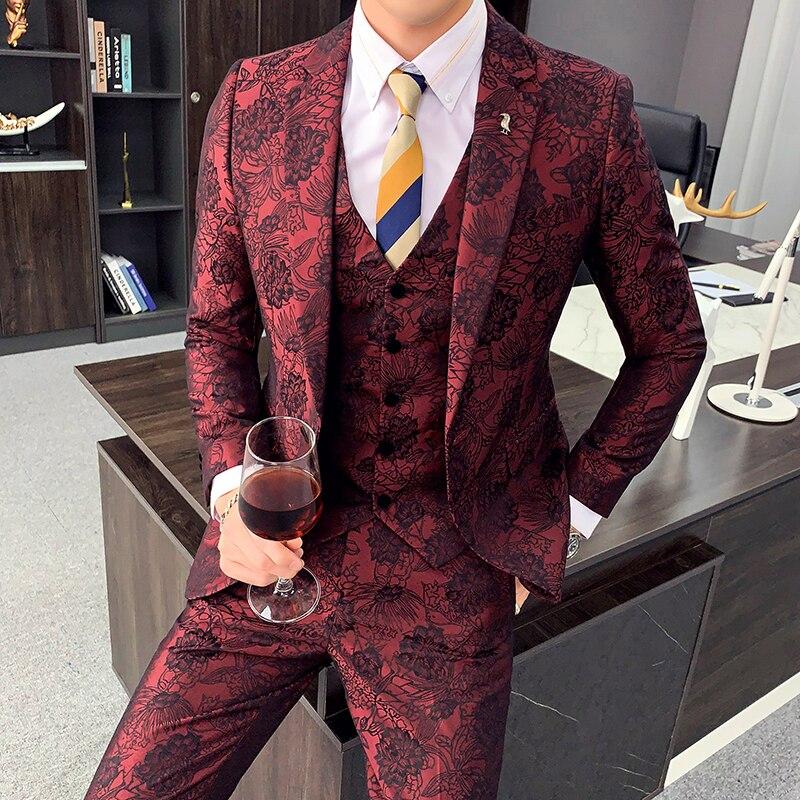 Quality 3Piece Jacquard Suit Men Fashion 2020 New Arrival Wedding Suits For Men Casual Slim Fit Prom Tuxedo Jacket+Pant+Vest