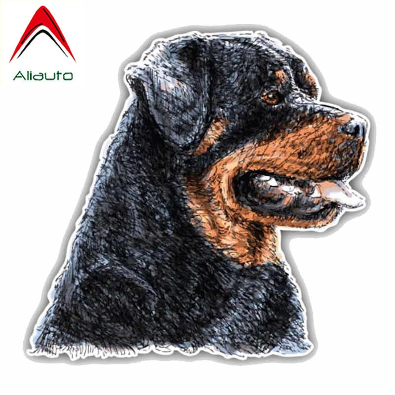 Aliauto Personality Car Sticker Rottweiler Dog Head Sunscreen Waterproof Reflective Decals For Automobile Motorcycles,14cm*14cm
