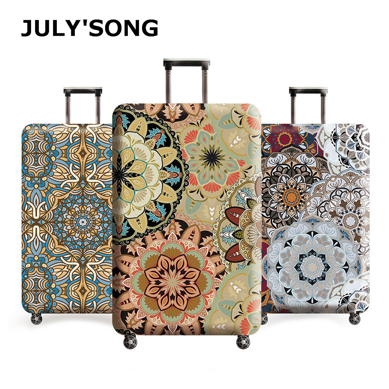 JULY'S SONG Vintage Floral Travel Luggage Cover Dust Case Suitcase Protective Cover Polyester Trolley Case Cover