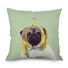 Hot 45x45cm Cute Pug Dog Printing Cushion Cover Creative Linen Pillow Case Decorative Pillowcase Home