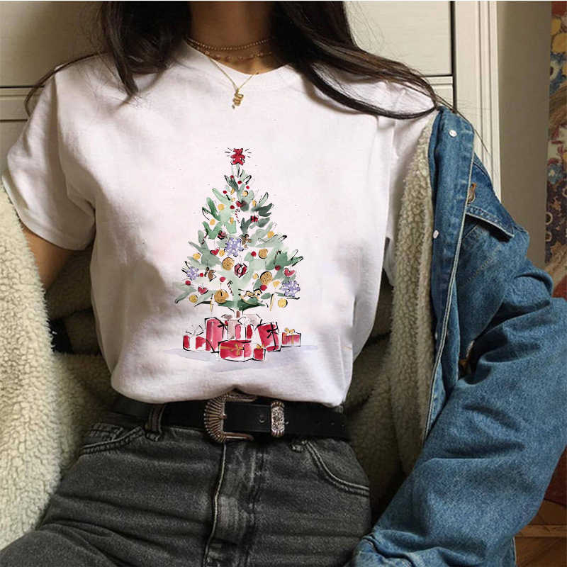 Lei SAGLY Donne di Modo T-Shirt Felice Anno Nuovo Buon Tee Shirt Di Natale Tumblr Graphic T Shirt Femminile Magliette Camisa Stampa tshirt