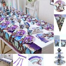 Jogo fortnite festa de aniversário tema mesa descartável conjunto criança festa de aniversário fortaleza noite decoração guardanapo copo de papel brinquedos