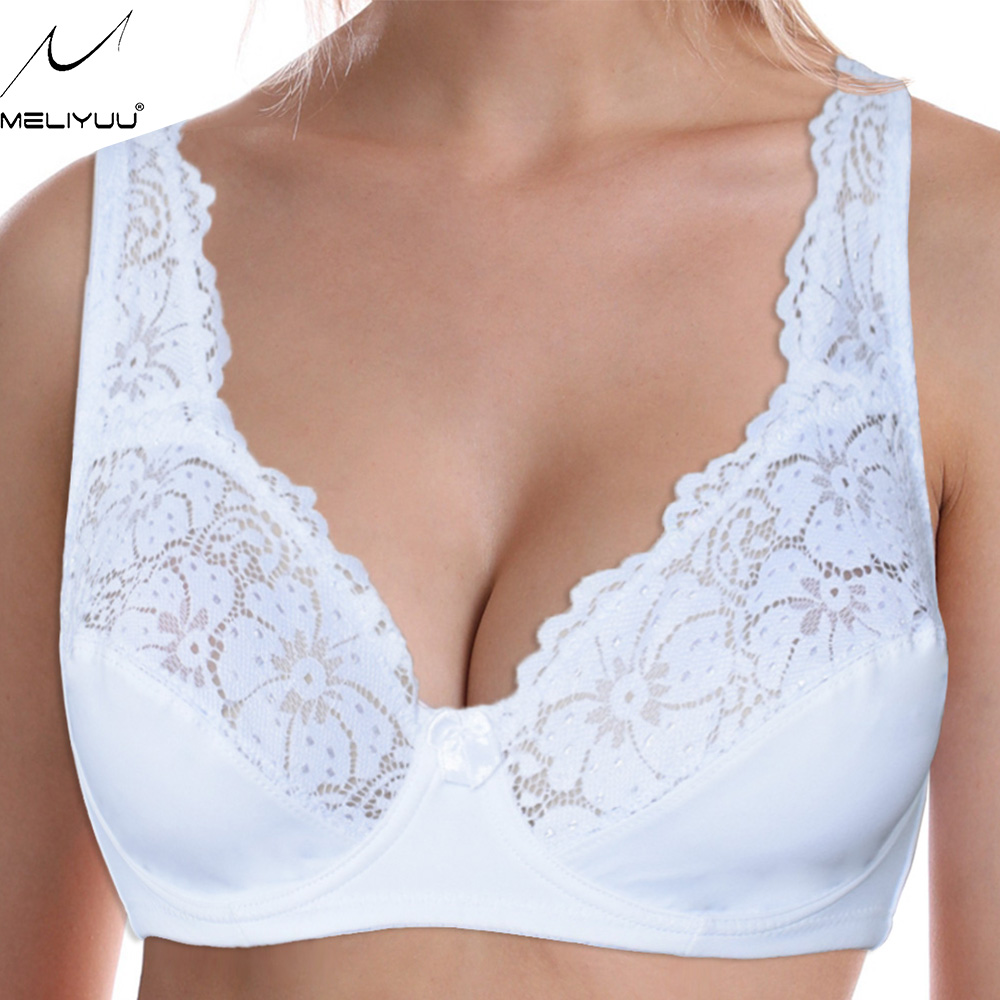 PLus Size Women's Bra Top Lace Bralette Ladies Floral Unpadded Sexy Lingerie Underwired Transparent Brassiere 1