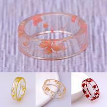 Bague anniversaire transparente pour femmes 2020 fait à la main bois résine anneau fleurs séchées plantes à l'intérieur de bijoux résine anneau Offre Spéciale