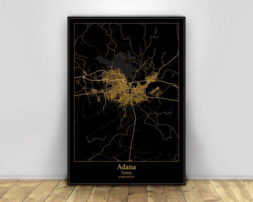 Adana Turkey Black Gold City Light Maps Custom World City Map Posters Canvas Prints Nordic Style Wall Art Home Decor Painting Calligraphy Aliexpress