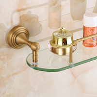 Wall Mounting Bathroom Glass Shelf with Antique Bronze Finish and Rail, Tempered Glass Rectangular 1 Tier Extra Thick