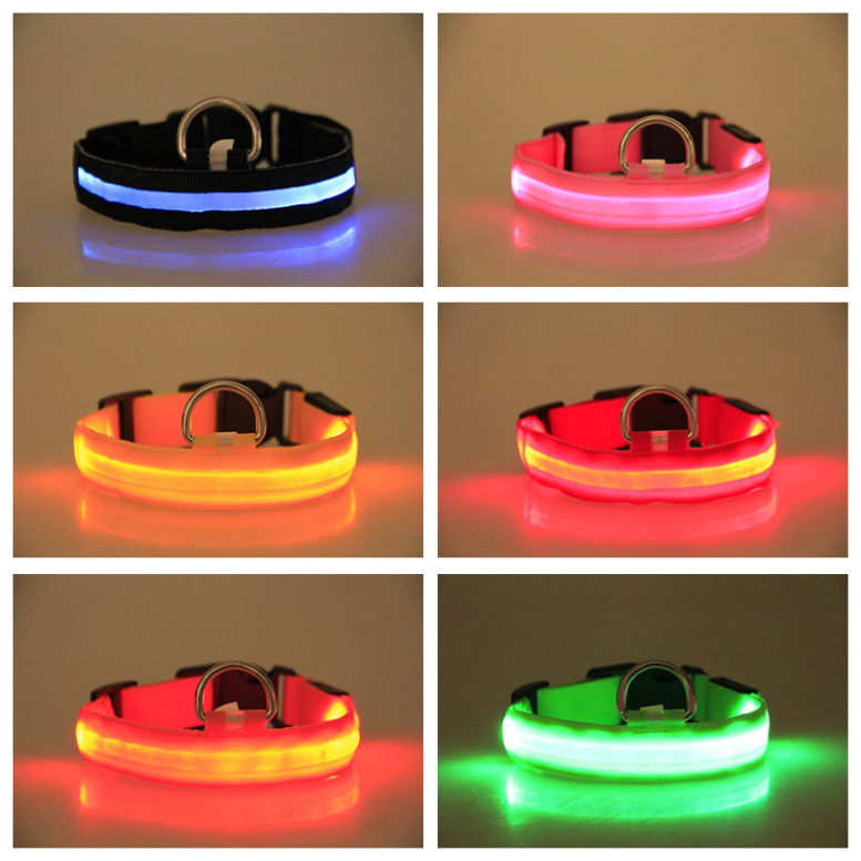 LED Shining Pet Dog Collar Wire Screen Pet Bandana Flash Dog Neck Ring Battery-