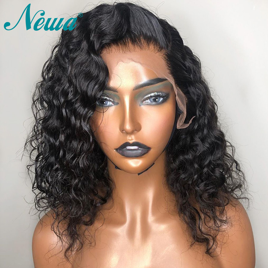 Newa Hair Short Water Wave Human Hair Bob Wigs Remy 13x6 Lace Front Human Hair Wigs With Baby Hair Pre Plucked For Black Women