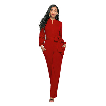 Onepieces Casual Long Sleeve Rompers Sexy Fashion 2020 Fall Clothes For Women Solid Color Smooth Material Wide Leg Jumpsuit women s jumpsuit 11 color jumpsuit wide leg pants sexy fashion solid color backless multi method jumpsuit women summer 2020