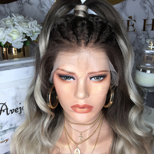 Image 2 - AVEJOICE Braided Mixed Grey Color Lace Front Wigs Body Wave Pre Plucked Hairline Brazilian Human Hair Wig For Black Women