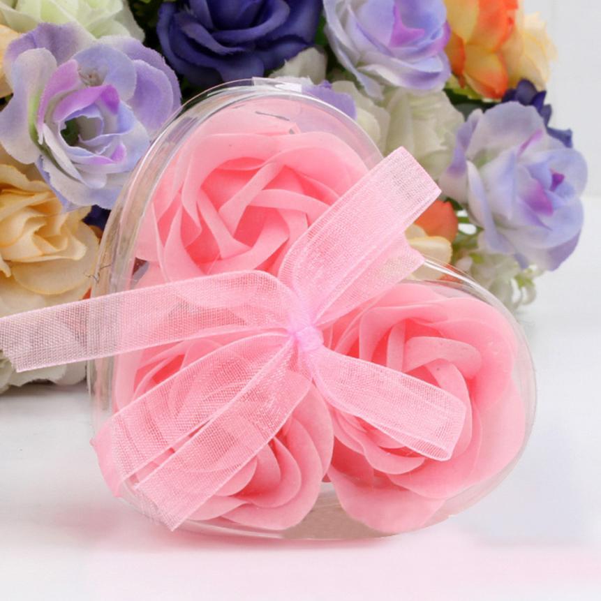 3 Pcs Artificial Rose Soap Flower Bath Soap Heart-shaped Romantic Souvenir Valentine's Day Gift Wedding Gift Party Decoration