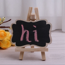 3Pcs Mini Wooden Blackboard Chalkboard Stand for Wedding Party Table Decor Tags