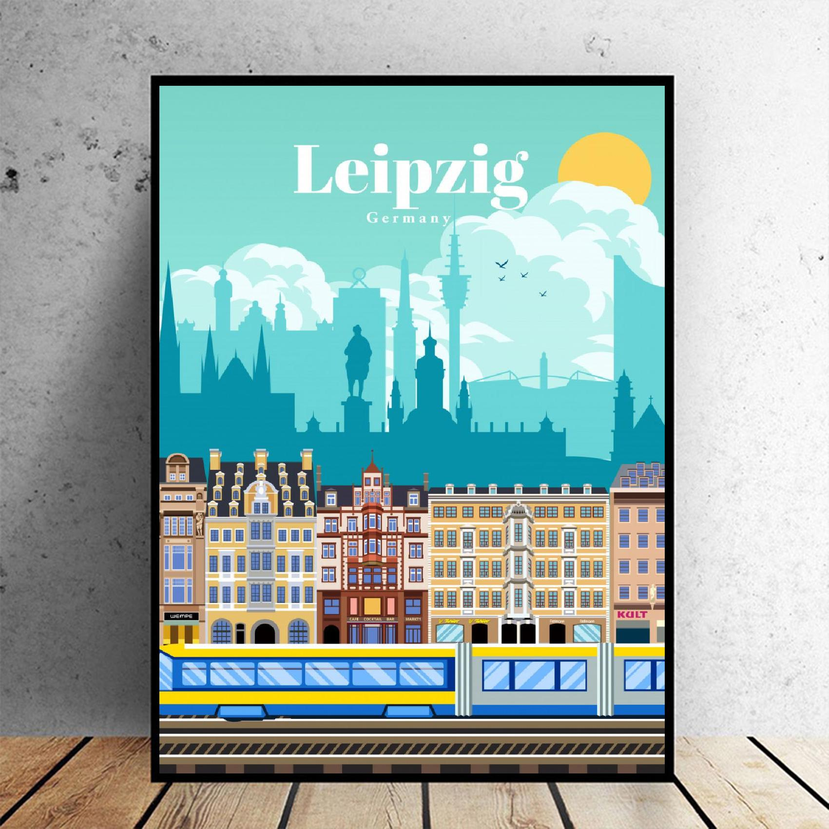 Travel To Leipzig Canvas Travel Poster Wall Art Pictures For Living Room Home Decor No Frame Painting Calligraphy Aliexpress