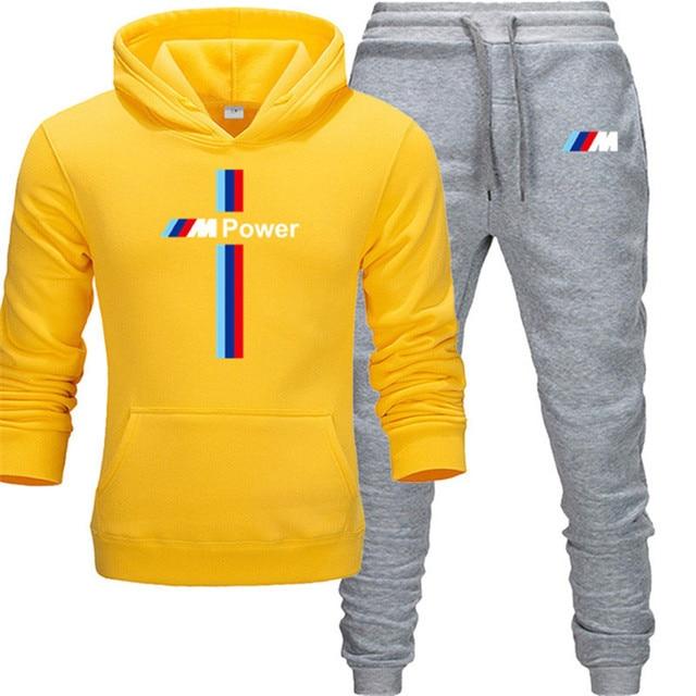 New BMW M Power Hoodie Set Sportswear Sweatshirt Set Fleece Hoodie + Sweatpants Jogging Men's Pullover 3XL Sports Set 4