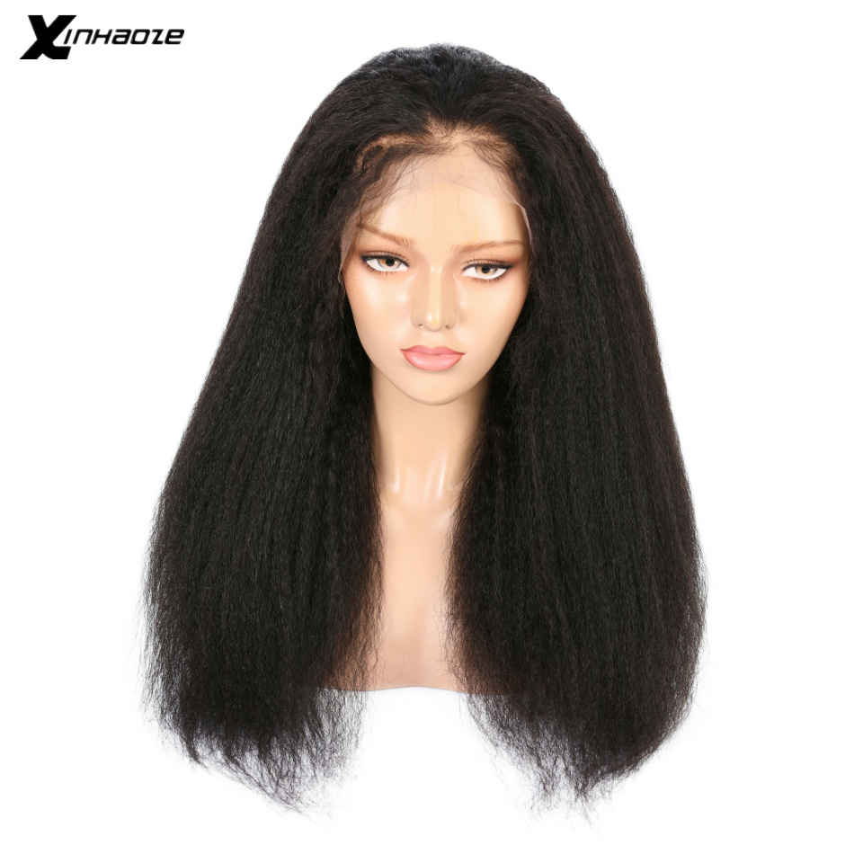 XINHAOZE 13x6 Lace Front With Natural Hairline Brazilian Human Hair Wigs Yaki Staright  With Baby Hair For Women