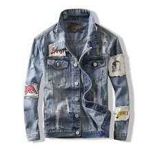 Mens Denim Jackets Hip Hop Style New Fashion Autumn Coats Trend Patch Printing Raw denim Jacket trend jacket tide