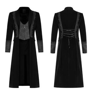 Image 5 - PUNK RAVE Mens Gothic Velvet Shuttle Weaving Jacquard Medium Length Jacket Halloween Club Party Cosplay Mens Long Coats