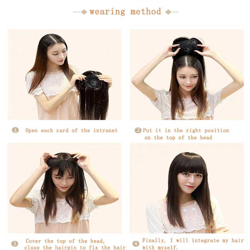 10 14 inç sentetik saç tokası bir peruk Hairpieces düz saç patlama saçak üst kapaklar tokalar beyaz kadınlar için