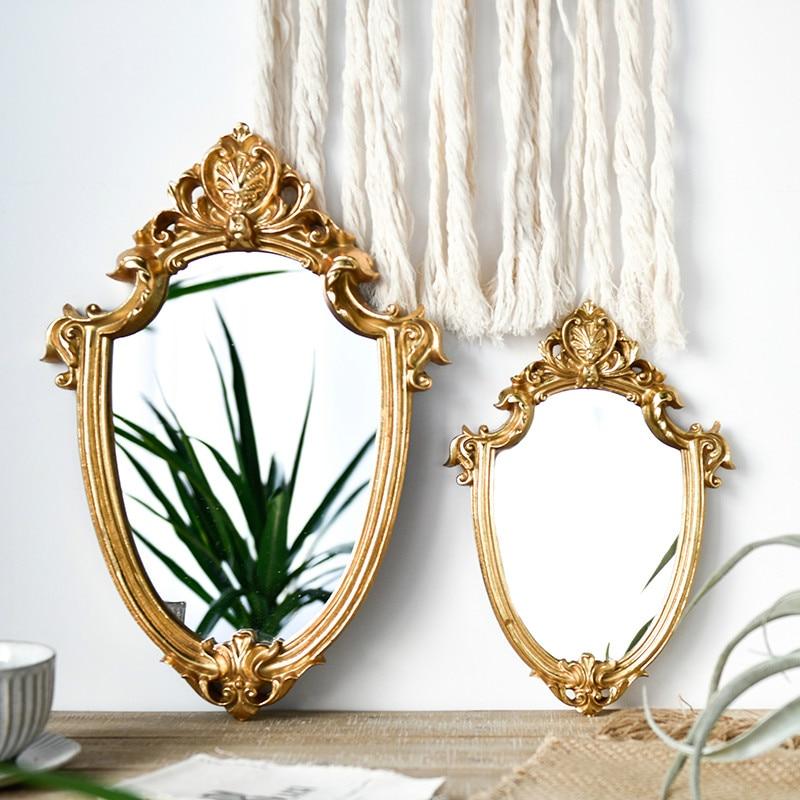 Зеркало для макияжа с золотым тиснением, скандинавский Ретро старопотертый светильник, роскошное зеркало для украшения дома, зеркало для примерки в ванной|Декоративные зеркала|   | АлиЭкспресс - Ваш красивый дом