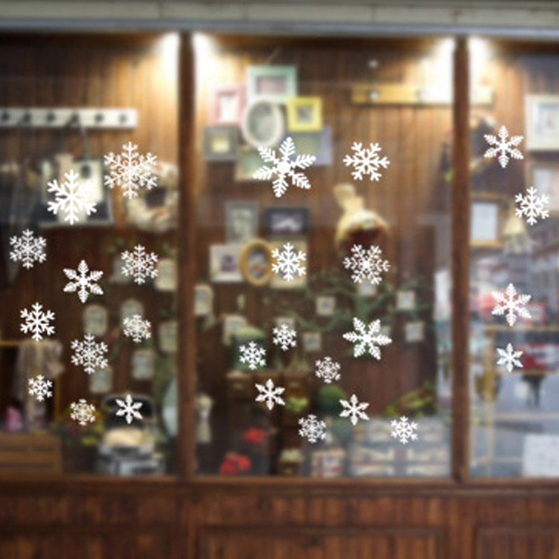27Pcs Christmas Snowflake Window Sticker Christmas Wall Stickers Room Wall Decals Christmas Decorations for Home New Year 2021 2