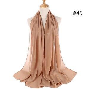 Image 4 - בועה באיכות גבוהה שיפון צעיף נשים מוסלמי חיג אב צעיף צעיף לעטוף מוצק רגיל צבעים 10 יח\חבילה